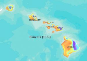 Annual Hawai'i Rainfall Map